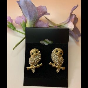 Amrita Singh Gold Owl stud earrings w/ rhinestones